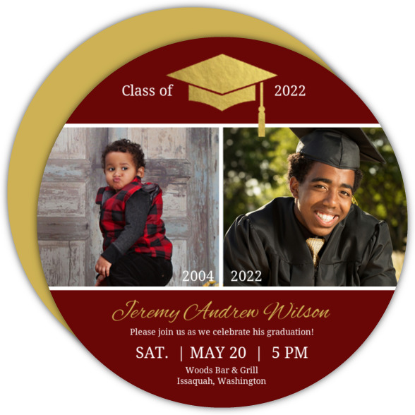 Gold Foil Cap Photo Graduation Invitation
