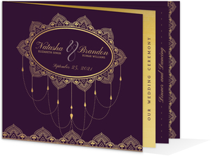 Royal Purple & Faux Gold Wedding Booklet Invitation