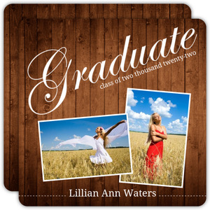 Wood Grain Photo Graduation Announcements