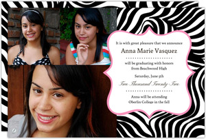 Pink Zebra Graduation Announcement