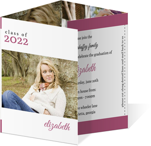 Simple Pink and White Graduation Announcement