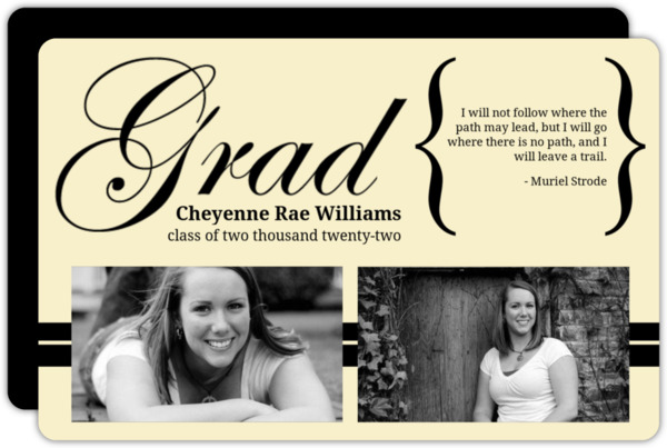 Light Blue Elegant Brackets Graduation Announcement