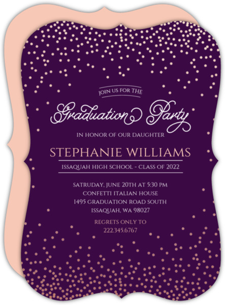 Rose Gold Confetti Graduation Party Invitation