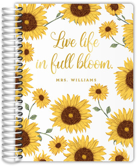 Sunflower Bloom Real Foil Teacher Planner