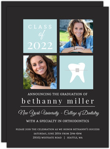 Gray and Light Blue Blocks Dentist Graduation Announcement