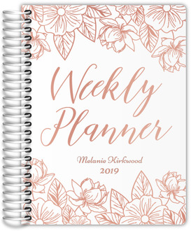 Rose Gold Floral Real Foil Weekly Planner