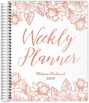 Rose Gold Floral Real Foil Weekly Planner 8.5x11