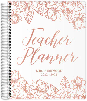 Rose Gold Floral Real Foil Teacher Planner