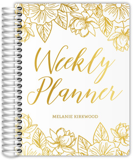 Whimsical Gold Floral Real Foil Mom Planner