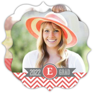 Chevron Coral Graduation Announcement