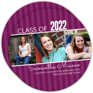 Purple Stripes Graduation Announcement