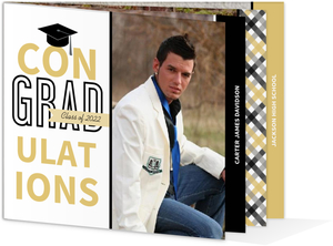 Black and Gold Gingham Graduation Invitation