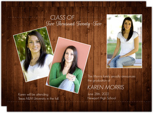 Rustic Wood Graduation Announcement
