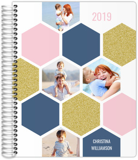 Hexagon Colored Photo Grid Weekly Planner