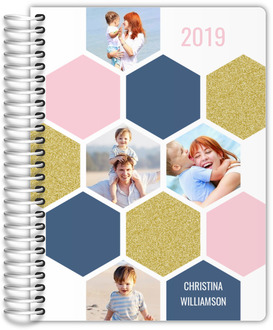 Hexagon Colored Photo Grid Weekly Planner 6x8