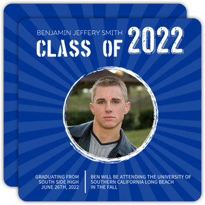 Bright Blue Graduation Announcement