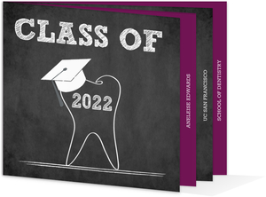 Chalkboard Tooth Dental Booklet Graduation Invitation