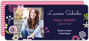 Navy Blue Floral Graduation Announcement