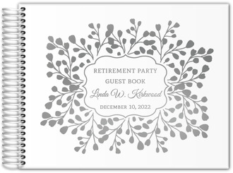Floral Branches Frame Real Foil Retirement Guest Book