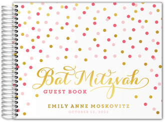 Gold  Pink Confetti Real Foil Bat Mitzvah Guest Book