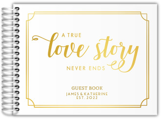 True Love Story Real Foil Wedding Guest Book