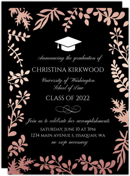 Rose Gold Foil Foliage Decor Graduation Invitation