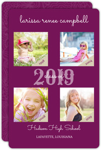 Purple Photo Timeline Graduation Announcement