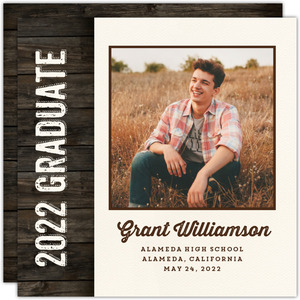 Rustic Neutral Woodgrain Graduation Announcement