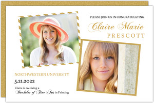 Gold Glitter Showcase Graduation Announcement