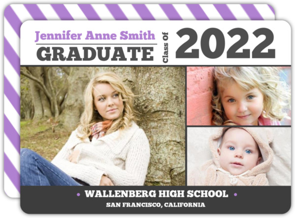 Simple Gray and Yellow Graduation Announcement