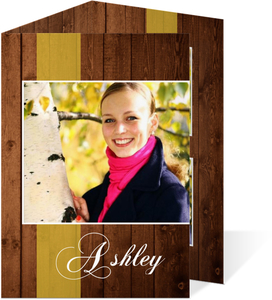 Rustic Wood Trifold Graduation Announcement