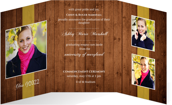 Rustic Wood Trifold Graduation Announcement Graduation
