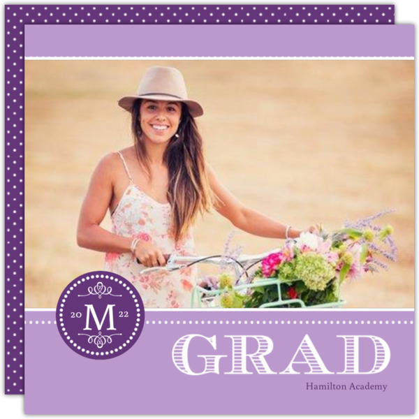 Gray Monogram Graduation Announcement