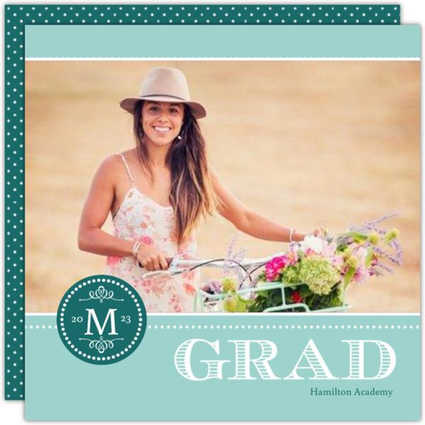 Gray Monogram Graduation Announcement