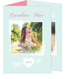 Blue and Pink Modern Arrows Graduation Announcement