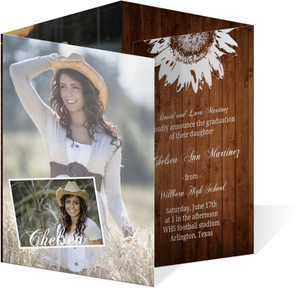 Brown Country Chic Grad Announcement