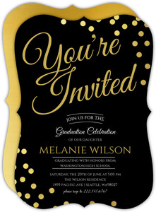 You're Invited Simple Confetti Graduation Invitation