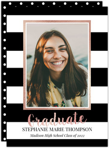 Black and White Stripes Graduation Announcement