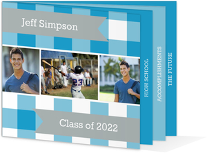 Blue Plaid Graduation Announcement