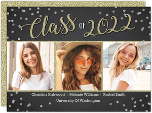 Confetti and Glitter Script Joint Graduation Invitation