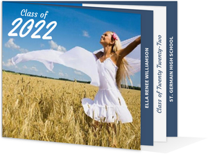 Blue White Graduation Announcement