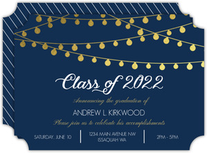 Gold Foil Hanging Lights Graduation Announcement