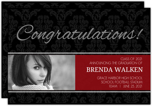 Grad Black French Gothic Graduation Announcement