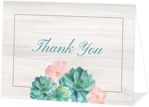Whimsical Watercolor Succulent Thank You Card