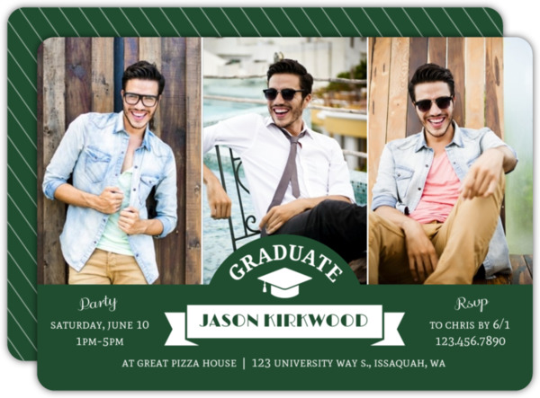 Black Simple Photo Graduation Announcement