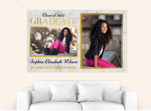 Modern Marble and Faux Gold Frame Graduation Banner