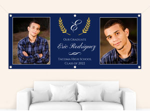Classic Navy and Gold Laurel Graduation Banner