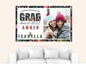 Whimsical Floral Garden Pattern Graduation Banner
