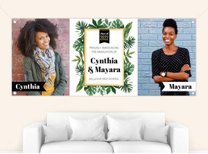 Tropical Greenery Watercolor Graduation Photo Banner