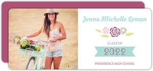 Blue and Pink Floral Graduation Announcment